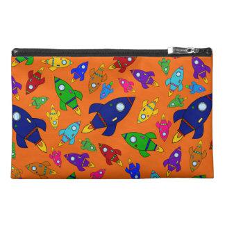 Cute orange rocket ships pattern travel accessories bags