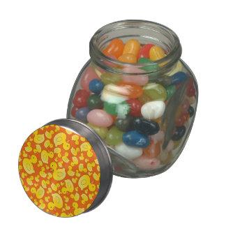 Cute orange rubber ducks glass candy jar