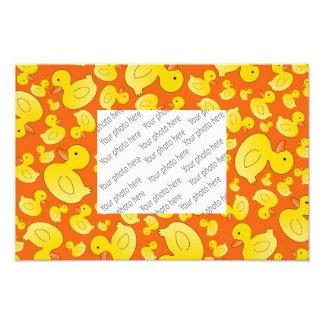 Cute orange rubber ducks photo print