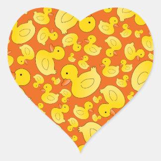 Cute orange rubber ducks heart sticker