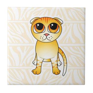 Cute Orange Scottish Fold Cat Cartoon Ceramic Tile