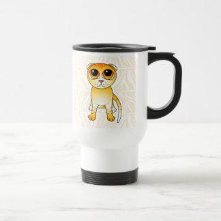 Cute Orange Scottish Fold Cat Cartoon Travel Mug