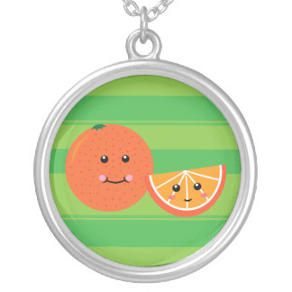 Cute Orange Silver Plated Necklace