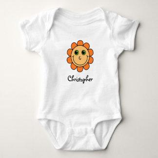 Cute Orange Smiley Face Flower Monogram Baby Bodysuit