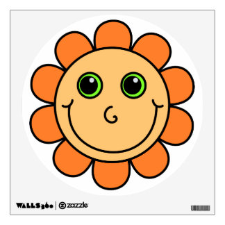 Cute Orange Smiley Face Flower Wall Decal