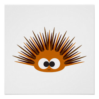 Cute Orange Spiny Sea Urchin Poster