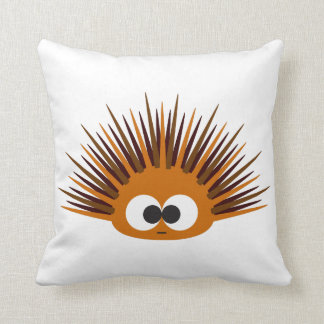 Cute Orange Spiny Sea Urchin Throw Pillow