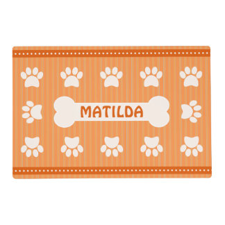 Cute Orange Stripes Bone and Dog Paws Double Sided Placemat