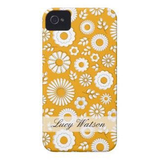 Cute orange summer flowers iPhone 4 cases