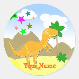 Cute Orange T-Rex Dinosaur Name Stickers