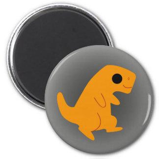 Cute Orange T-Rex on Grey Magnet