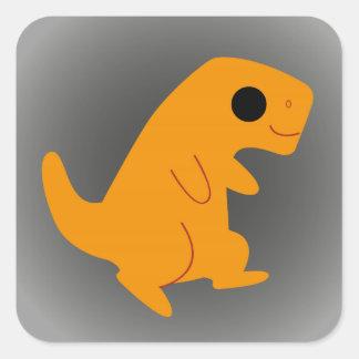 Cute Orange T-Rex on Grey Square Sticker