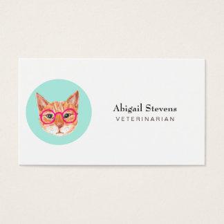 Cute Orange Tabby Cat Wearing Glasses Business Card