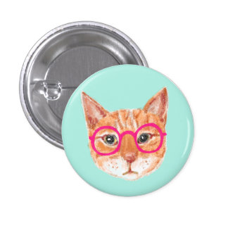 Cute Orange Tabby Cat Wearing Glasses Button