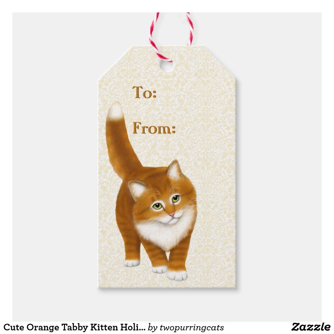 Cute Orange Tabby Kitten Holiday Gift Tags
