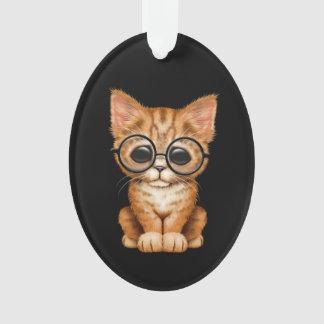 Cute Orange Tabby Kitten with Eye Glasses black Ornament