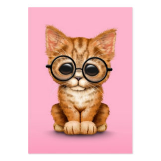 Cute Orange Tabby Kitten with Eye Glasses pink Large Business Cards (Pack Of 100)