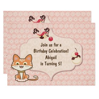 Cute Orange Tiger Kitty Cat and Flowers Birthday Invitation