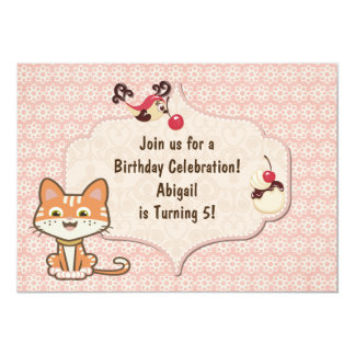 Cute Orange Tiger Kitty Cat Birthday Invitation