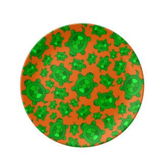 Cute orange turtle pattern porcelain plates