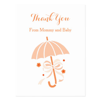 Cute Orange Umbrella and Bow Baby Shower Thank You Postcard
