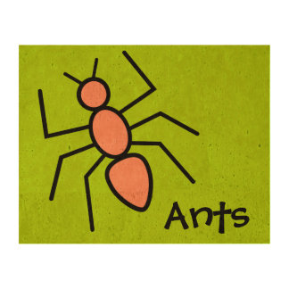 Cute Orange Vector Ant (Grass Green Background) Photo Cork Paper