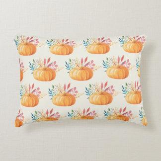 Cute Orange Watercolor Pumpkin Pattern Accent Pillow