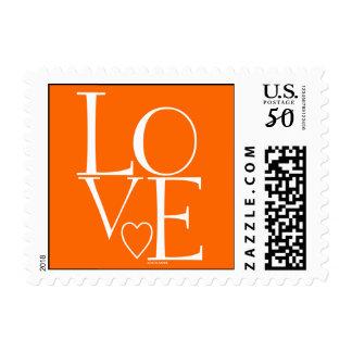 Cute Orange White Modern Love Postage