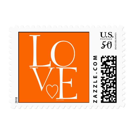 Cute Orange White Modern Love Postage