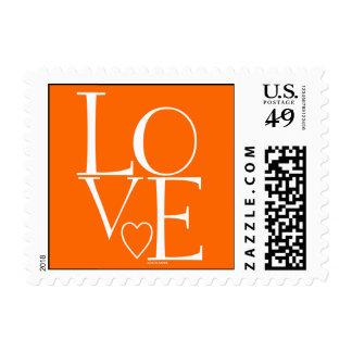 Cute Orange White Modern Love Stamps
