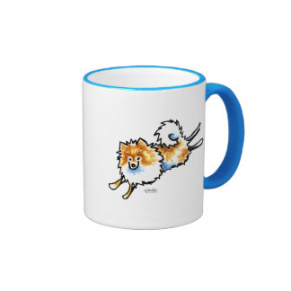 Cute Orange White Pomeranian Ringer Coffee Mug