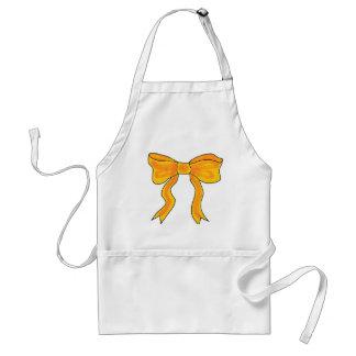 Cute Orange Yellow Bow Adult Apron