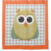 Cute Orange Yellow Green Blue Owl Shower Curtain