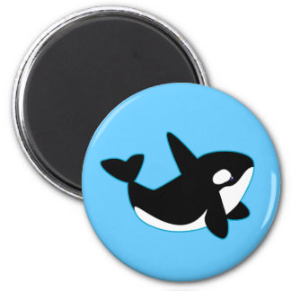 Cute Orca (Killer Whale) 2 Inch Round Magnet