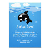 Cute Orca Whale Birthday Party Invitation