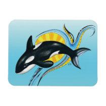 Cute Orca Whale Blue Swirls Magnet