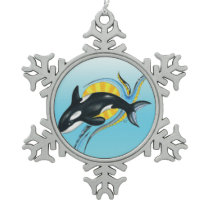 Cute Orca Whale Blue Swirls Snowflake Pewter Christmas Ornament