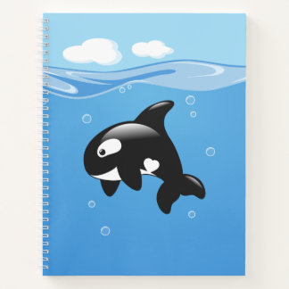 Cute Orca Whale in Ocean Notebook