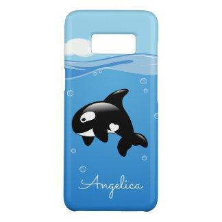Cute Orca Whale in Ocean with Custom Name Case-Mate Samsung Galaxy S8 Case