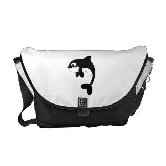 Cute orca whale messenger bags