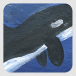 Cute orca whale square sticker