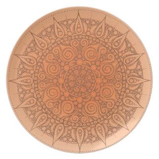 Cute Oriental Design Plate orange/brown