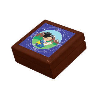 Cute oriental inspired girl painting landscape jewelry box