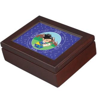 Cute oriental inspired girl painting landscape keepsake box