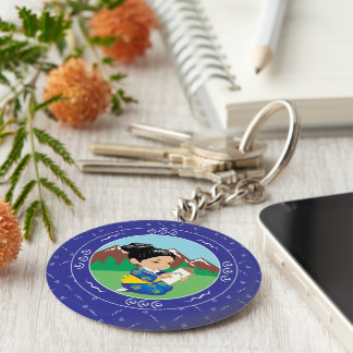 Cute oriental inspired girl painting landscape key chain
