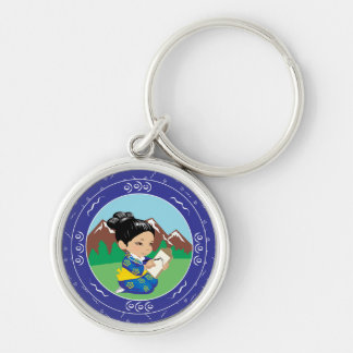 Cute oriental inspired girl painting landscape Silver-Colored round keychain