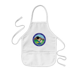 Cute oriental inspired girl painting landscape kids' apron
