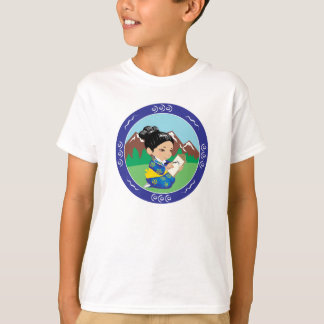 Cute oriental inspired girl painting landscape T-Shirt