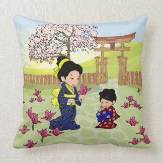 Cute oriental Mother and Daughter Throw Pillow