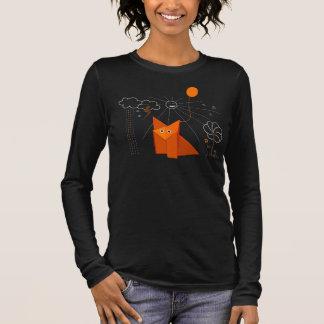 Cute Origami Fox Is Happy Dark Female Long Sleeve Long Sleeve T-Shirt